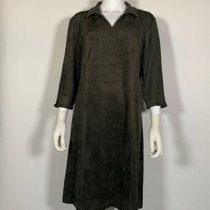 J McLaughlin Dress Green 3/4 Sleeves velvet Sz L